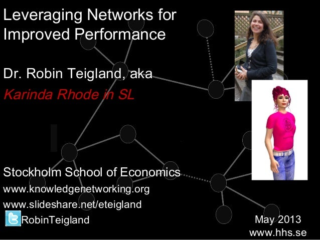 Leveraging Networks forLeveraging Networks forImproved PerformanceImproved PerformanceDr. Robin Teigland, akaDr. Robin Tei...