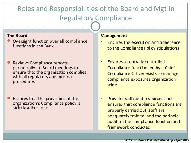 Leveraging on compliance risk management to create value - Role of compliance officer in bank ...
