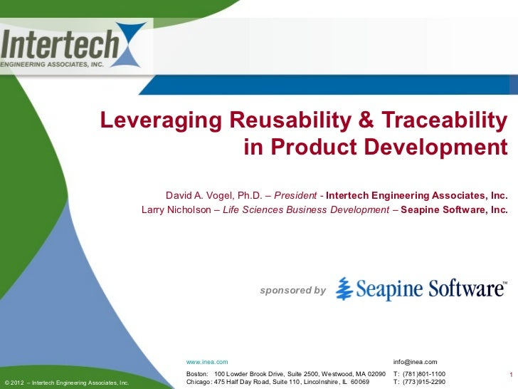 Leveraging Reusability & Traceability                                               in Product Development                ...