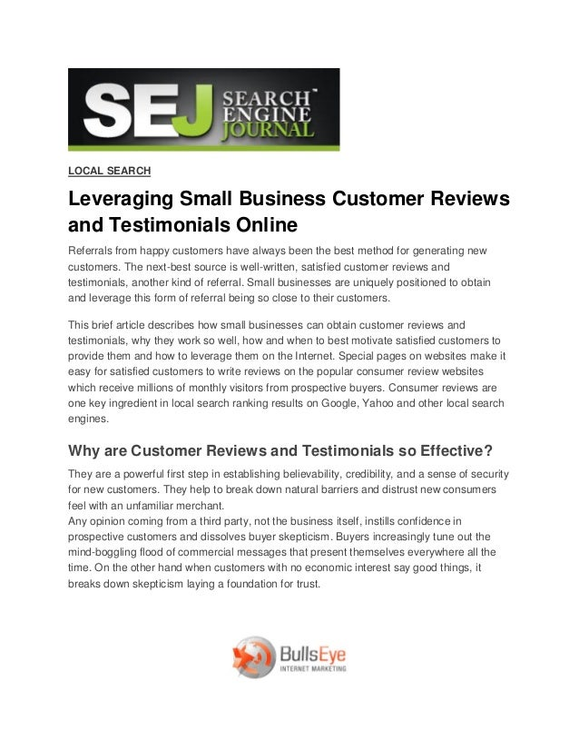 LOCAL SEARCHLeveraging Small Business Customer Reviewsand Testimonials OnlineReferrals from happy customers have always be...