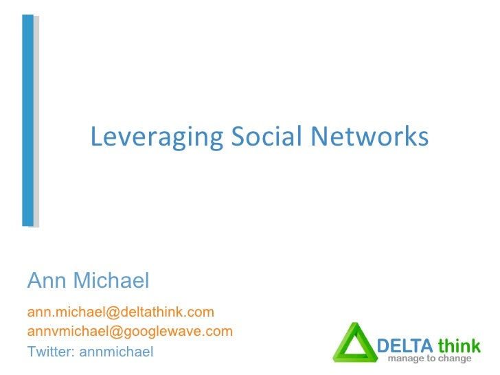 Leveraging Social Networks [email_address] [email_address] Twitter: annmichael Ann Michael
