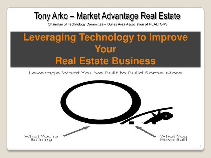 Tony Arko – Market Advantage Real Estate<br />Chairman of Technology Committee – Dulles Area Association of REALTORS<br />...