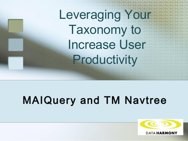 Leveraging Your Taxonomy to Increase User Productivity MAIQuery and TM Navtree