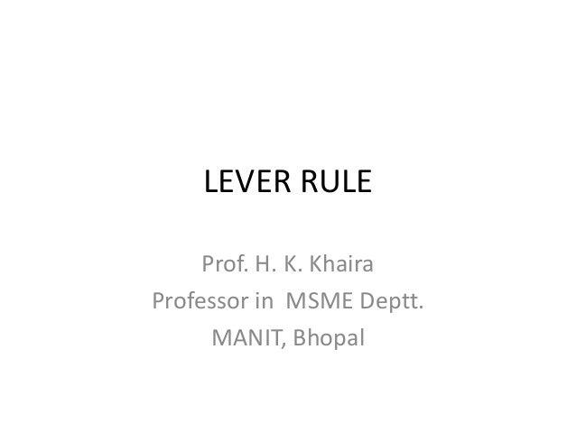 LEVER RULE Prof. H. K. Khaira Professor in MSME Deptt. MANIT, Bhopal
