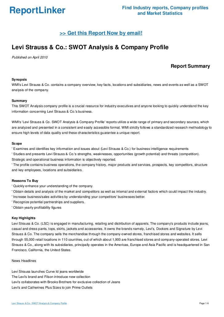 levis case study swot Purpose – reviews the latest management developments across the globe and pinpoints practical implications from cutting-edge research and case studies.