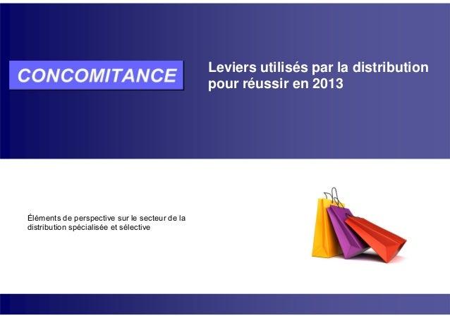 Leviers utilisés par la distribution pour réussir en 2013 Éléments de perspective sur le secteur de la distribution spécia...