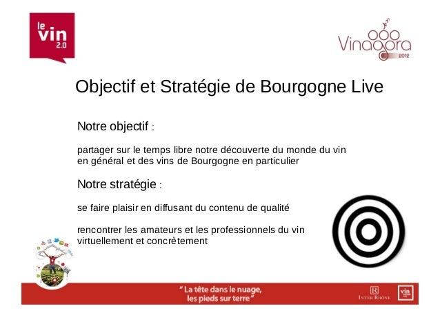 Objectif et Stratégie de Bourgogne LiveNotre objectif :partager sur le temps libre notre découverte du monde du vinen géné...