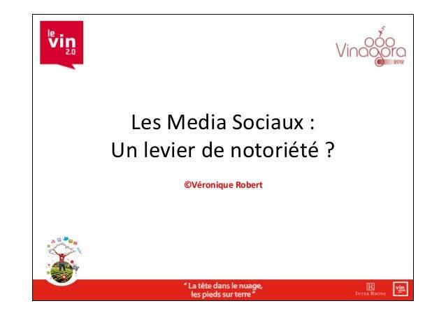 Les Media Sociaux : Un levier de notoriété ?             ©Véronique Robert