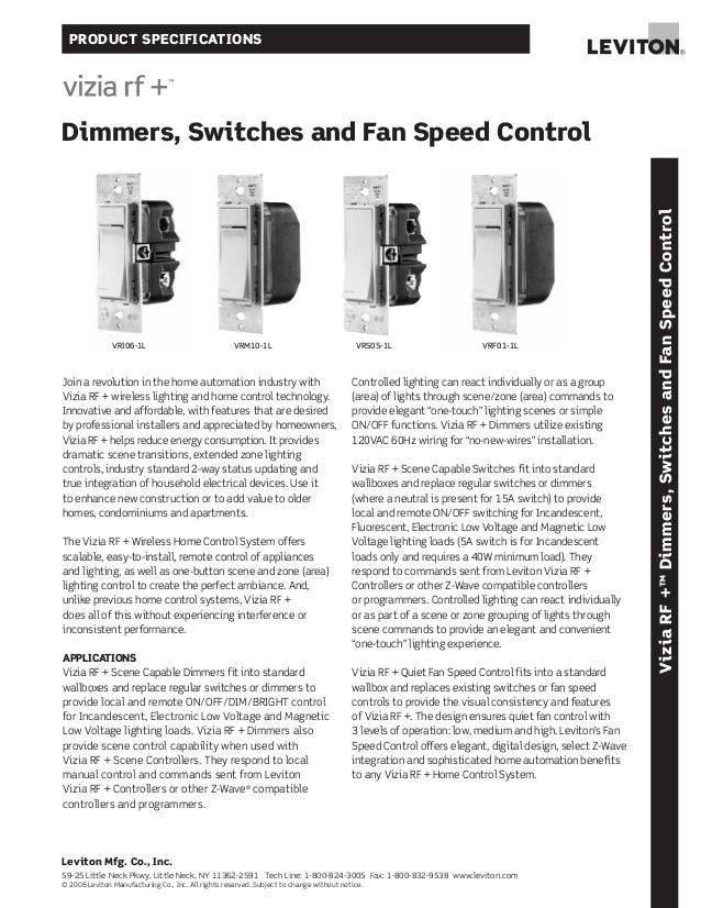 Leviton dimmers, switches and fan speed controllers