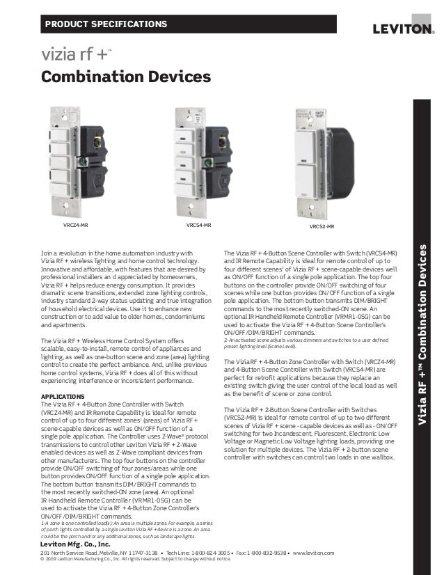 Leviton vrcz4 mr, vrcs4-mr, and vrc52-mr product specifications