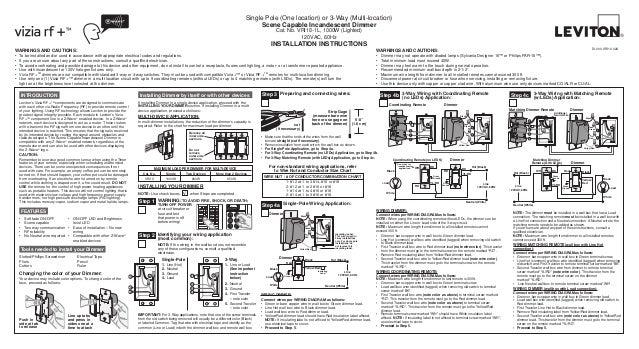 Leviton Vri10 1 Lz Product Manual And Setup Guide