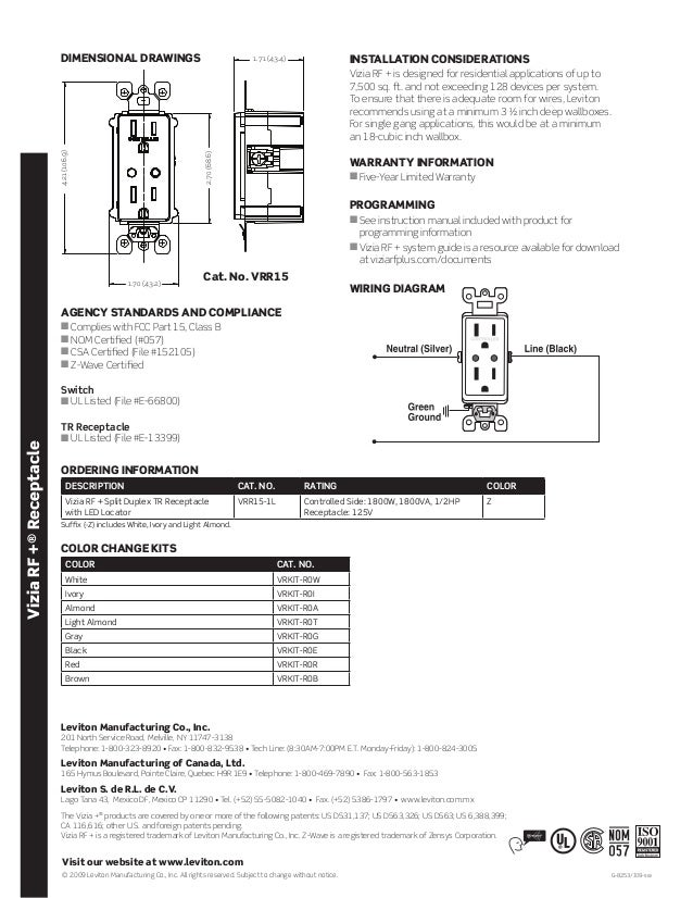 Leviton vrr15 1 lz product specification bulletin