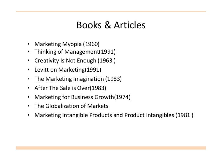 marketing intangible products and product intangibles theodore levitt Marketing intangible products and product intangibles product intangibles magazine article theodore levitt intangible products presents more.