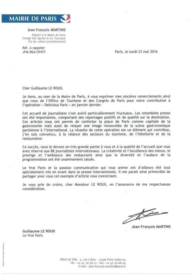 Le Vrai Paris - Courrier Remerciements - Opération Delicious Paris
