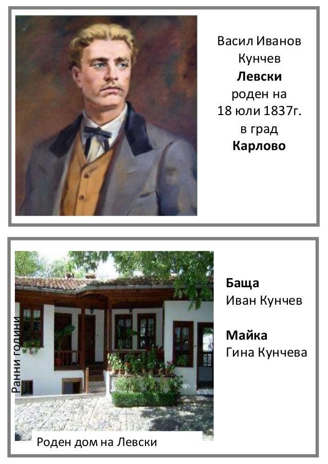 Васил Иванов Кунчев Левски роден на 18 юли 1837г. в град Карлово Баща Иван Кунчев Майка Гина Кунчева Роден дом на Левски Р...