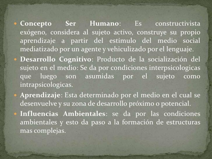 Concepto Ser Humano: Es constructivista exógeno, considera al sujeto activo, construye su propio aprendizaje a partir del ...