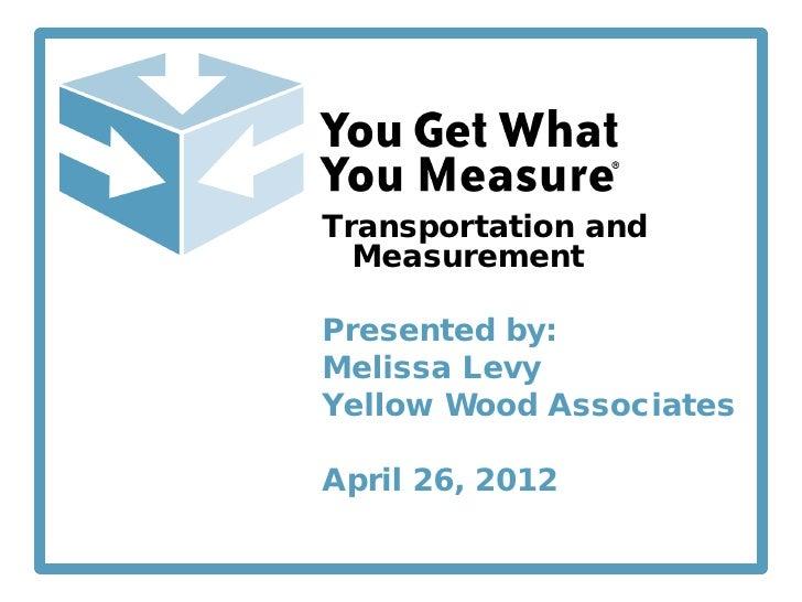 Transportation and  MeasurementPresented by:Melissa LevyYellow Wood AssociatesApril 26, 2012