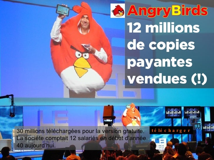 30 millions téléchargées pour la version gratuite. La sociéte comptait 12 salariés en début d'année. 40 aujourd'hui.  télé...