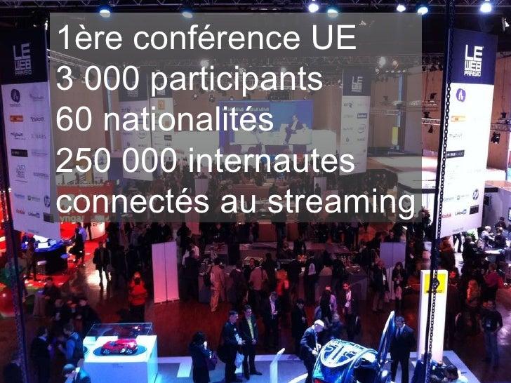 1ère conférence UE  3 000 participants 60 nationalités 250 000 internautes connectés au streaming