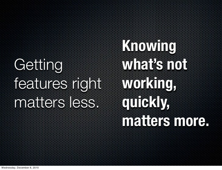 Knowing         Getting              what's not         features right       working,         matters less.        quickly...