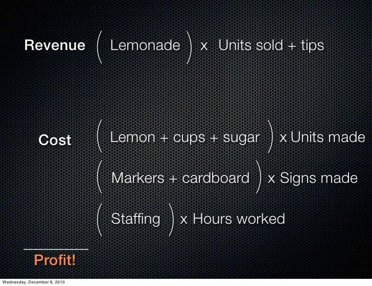 Revenue              (   Lemonade   )   x Units sold + tips               Cost           ( Lemon + cups + sugar ) x Units ...