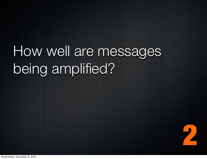 How well are messages         being amplified?Wednesday, December 8, 2010                                 2