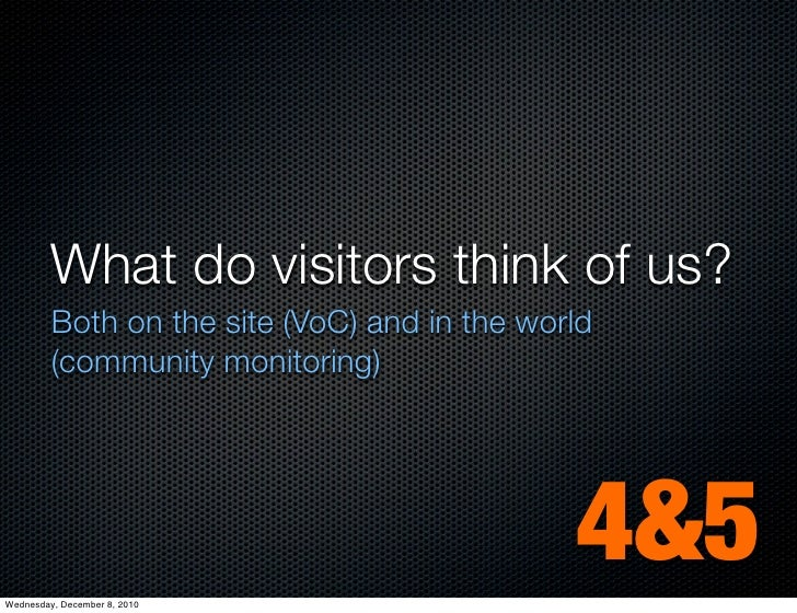 What do visitors think of us?         Both on the site (VoC) and in the world         (community monitoring)Wednesday, Dec...