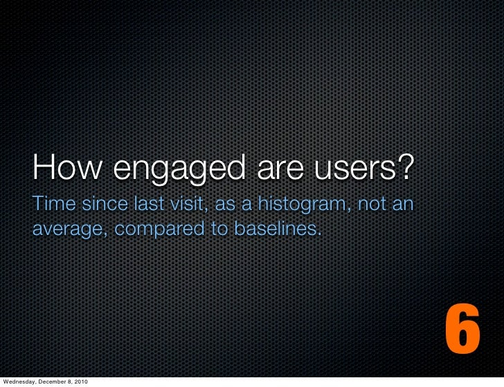How engaged are users?         Time since last visit, as a histogram, not an         average, compared to baselines.Wednes...