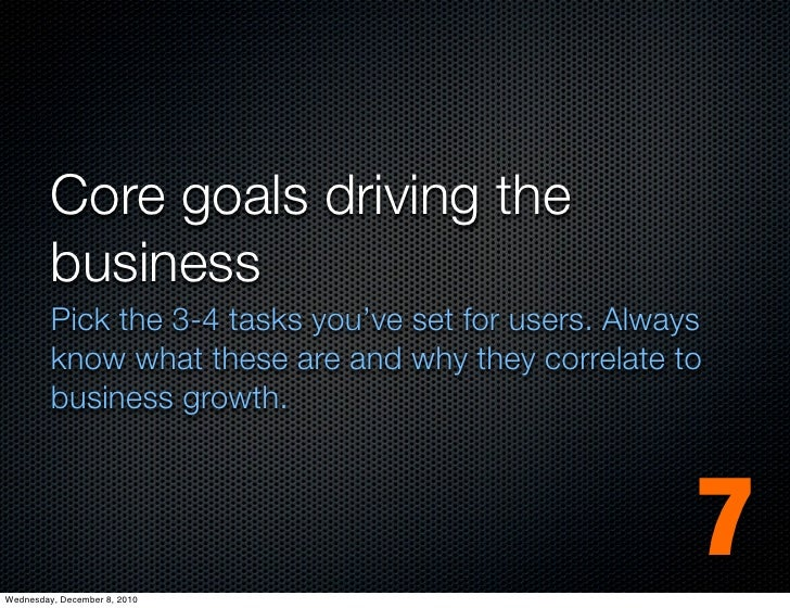 Core goals driving the         business         Pick the 3-4 tasks you've set for users. Always         know what these ar...