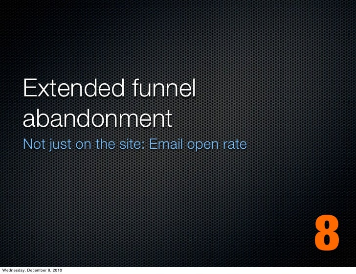 Extended funnel         abandonment         Not just on the site: Email open rateWednesday, December 8, 2010              ...