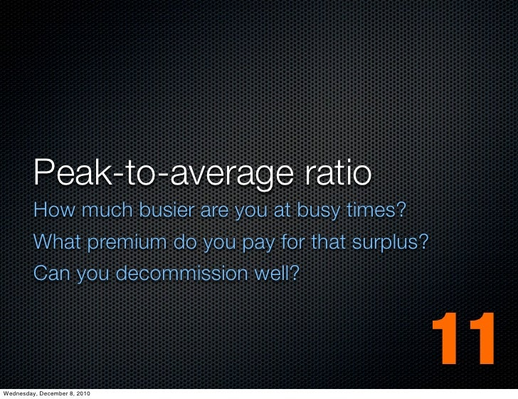 Peak-to-average ratio         How much busier are you at busy times?         What premium do you pay for that surplus?    ...