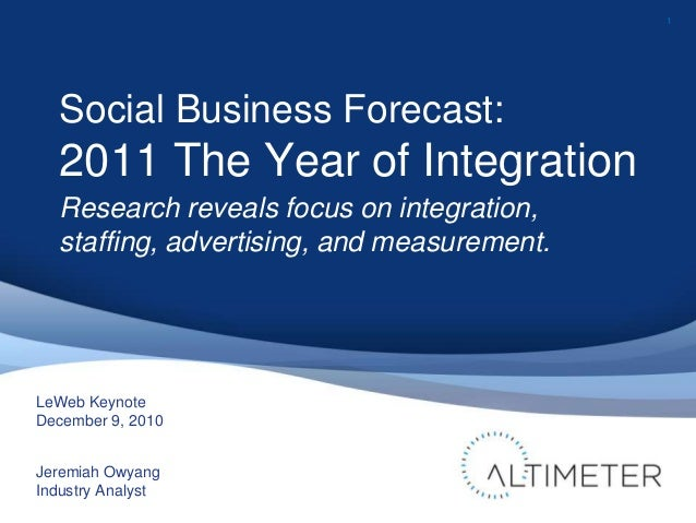 1 LeWeb Keynote December 9, 2010 Jeremiah Owyang Industry Analyst Social Business Forecast: 2011 The Year of Integration R...