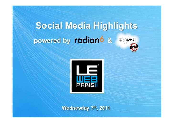 Social Media Highlightspowered by              &    .       Wednesday 7th, 2011