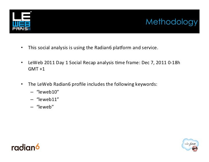 Methodology• This social analysis is using the Radian6 plaYorm and service. • LeWeb 2011 Day 1...