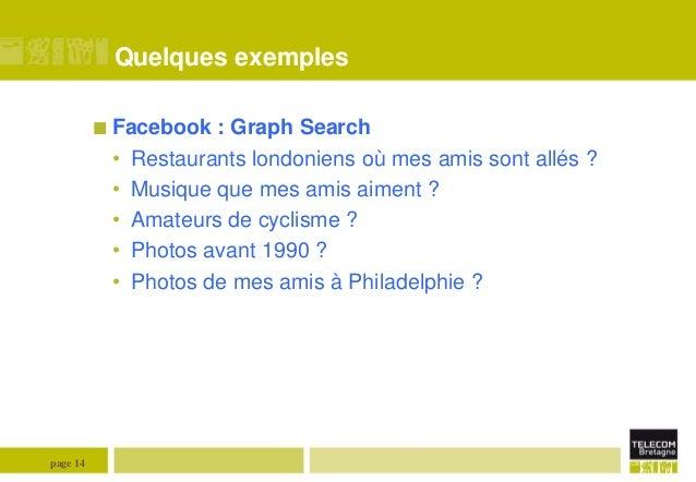 Quelques exemples  Facebook  • • • • •  page 14  : Graph Search Restaurants londoniens où mes amis sont allés ? Musique q...