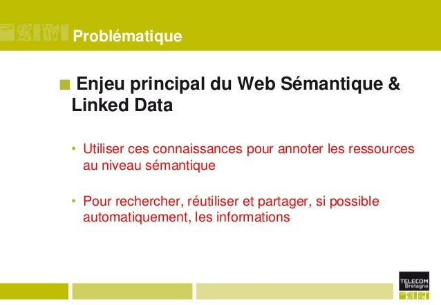 Problématique  Enjeu principal du Web Sémantique & Linked Data    • Utiliser ces connaissances pour annoter les ressource...