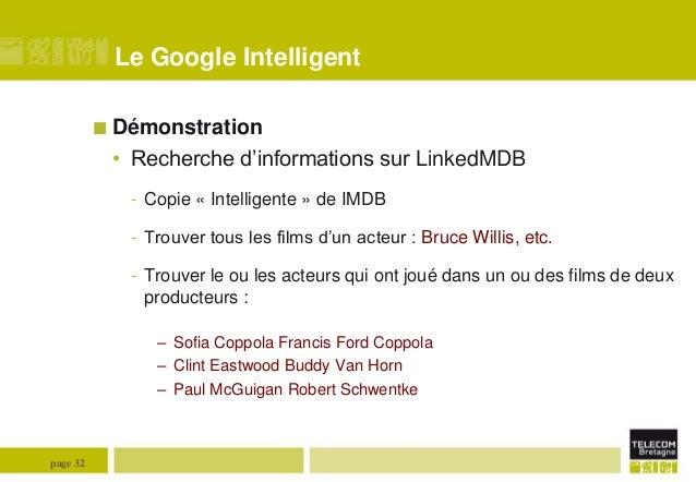 Le Google Intelligent  Démonstration  • Recherche d'informations sur LinkedMDB - Copie « Intelligente » de IMDB - Trouver...