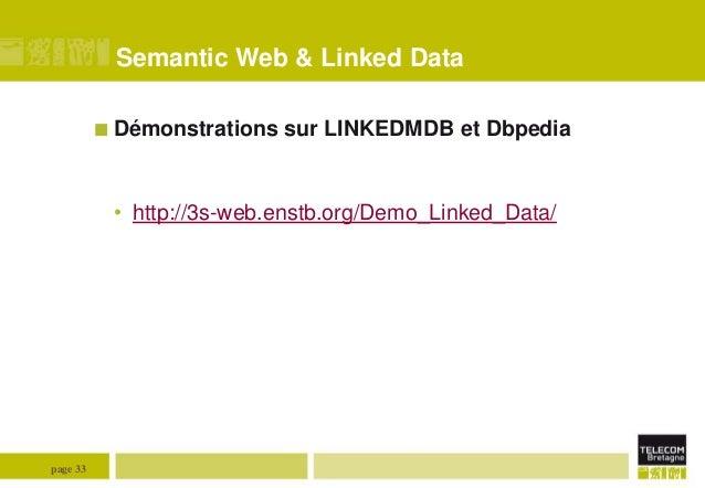 Semantic Web & Linked Data  Démonstrations  sur LINKEDMDB et Dbpedia  • http://3s-web.enstb.org/Demo_Linked_Data/  page 3...