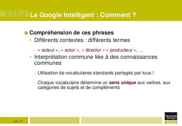 Le Google Intelligent : Comment ?  Compréhension  de ces phrases • Différents contextes : différents termes - « acteur »,...