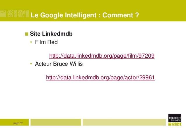 Le Google Intelligent : Comment ?  Site  Linkedmdb • Film Red http://data.linkedmdb.org/page/film/97209 • Acteur Bruce Wi...