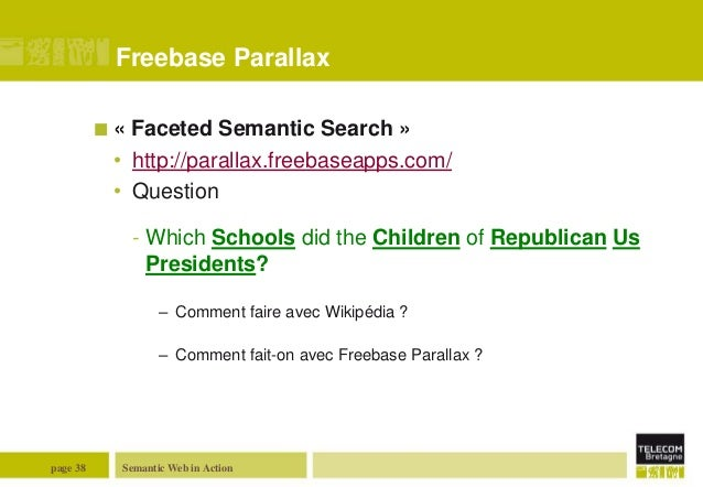 Freebase Parallax «  Faceted Semantic Search » • http://parallax.freebaseapps.com/ • Question - Which Schools did the Chi...