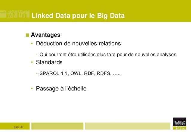 Linked Data pour le Big Data  Avantages  • Déduction de nouvelles relations - Qui pourront être utilisées plus tard pour ...