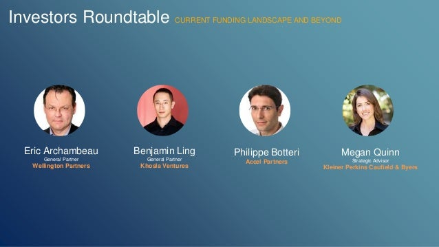 Investors Roundtable CURRENT FUNDING LANDSCAPE AND BEYOND  Eric Archambeau  General Partner  Wellington Partners  Benjamin...