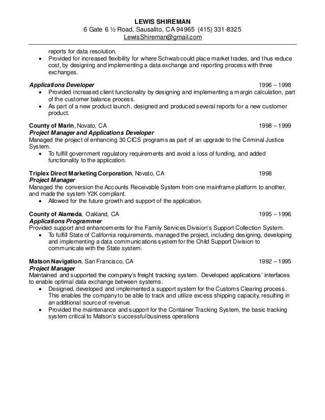 Lewis shireman resume project manager 2014 11 20 – Mainframe Project Manager