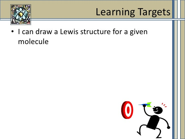I can draw a Lewis structure for a given molecule<br />Learning Targets<br />