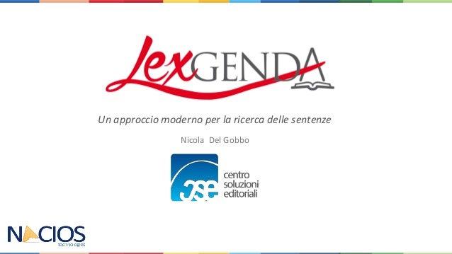 Nicola Del Gobbo Un approccio moderno per la ricerca delle sentenze
