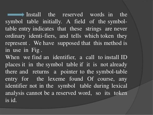 Lexical analyzer