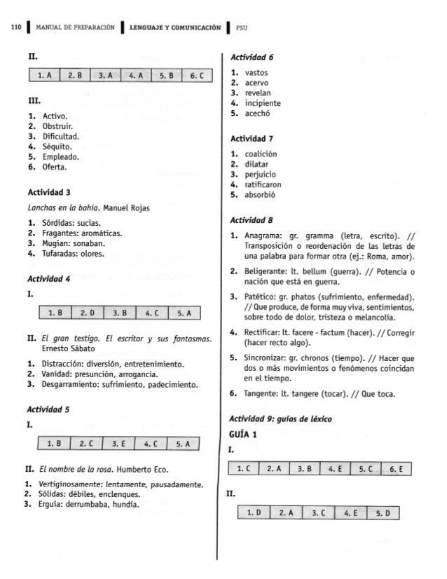 110 l MANUAL DE PREPARACIÓN l LENGUAJEYCOMUNICACIÓN l PSU  II  É  III.   1. 2. 3. 4. 5. 6.  Activo.  Obstruir.  Dificultad....