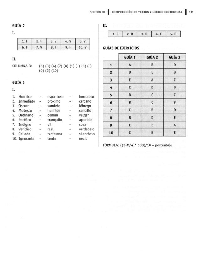 SECCIÓN III I COMPRENSIÓN DE TEXTOS Y LÉXICO CONTEXTUAL l 111  GUÍA 2 n.   '-  G-F 7-V 8.! ' 9.F 10-V GUÍAS DE EJERCICIOS ...