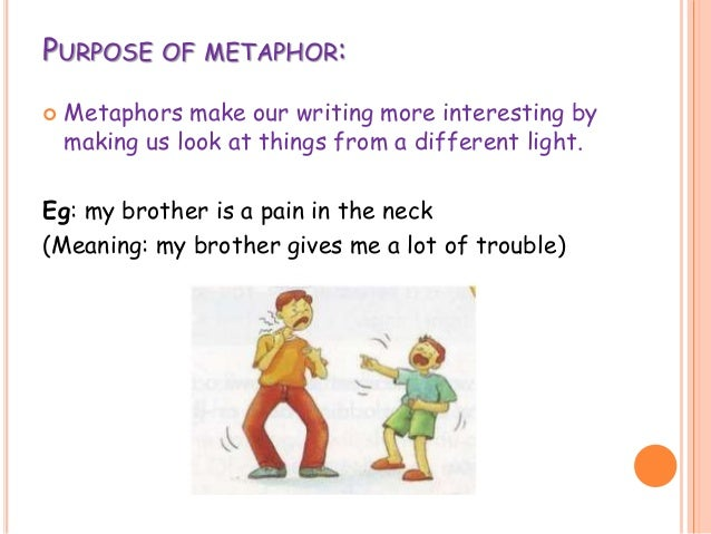 how to write a metaphor Write a first sentence to form the metaphor for example, if you chose life and filing cabinet, you could write a metaphorical sentence such as my life is a filing cabinet brainstorm, on a scrap piece of paper, phrases that are related to your metaphorical statement.